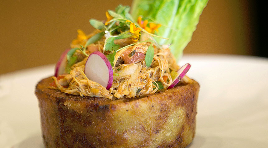 Café Tropical's trifongo is made with plantains, yucca, and malanga.