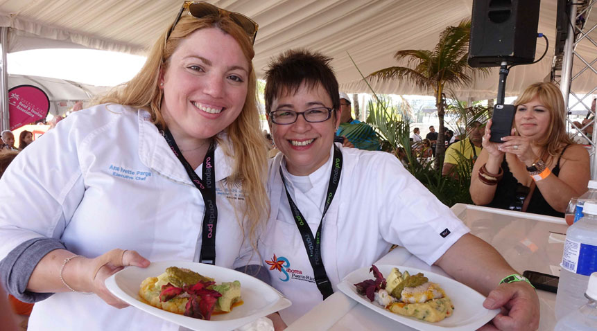 Chef Ana Parga of El San Juan Resort & Casino, with Chef Lorraine Colon of Always Fabulous Food.