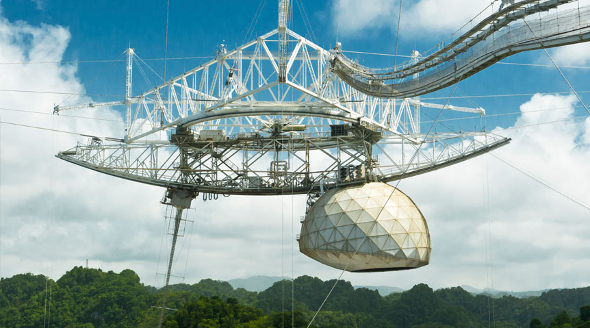 The Arecibo Observatory houses the world's largest single-aperture radio telescope.